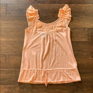 Peach lightweight sweater tank with decorated neck